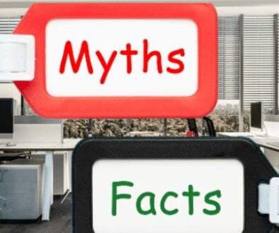 Staffing Agency Office with Myths and Facts tag on the image