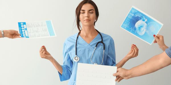 Nurse with three arms handing her nursing paperwork